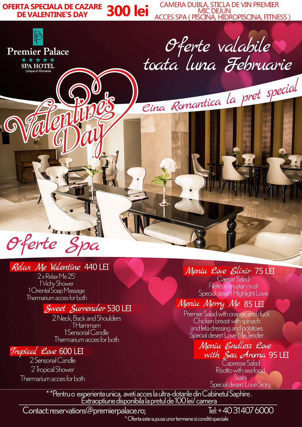 romantism de 5 de valentine s day la premier palace spa hotel comunicate de presa. Black Bedroom Furniture Sets. Home Design Ideas