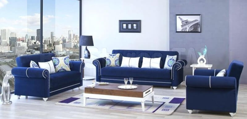integrare cromatica canapele albastre