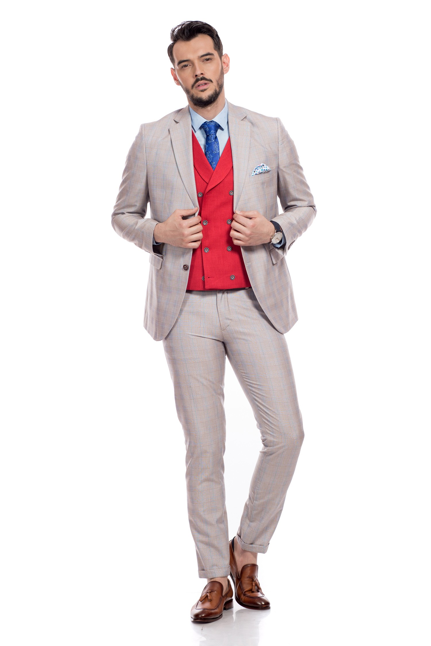 Costume barbatesti slim fit in carouri