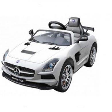 Masinuta electrica cu telecomanda si roti eva Mercedes SLS AMG alba